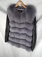 Жилет мех песец 70 см со съемным рукавом, фото 1