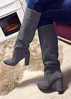 Женские стильные демисезонные сапоги Angel натуральный серый замш каблук 10 см обувь осень весна