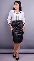 Вега. Оригинальная женская блуза плюс сайз. Белый. 56