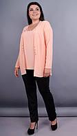 Дона. Жакет+блуза для женщин больших размеров. Персик. 50