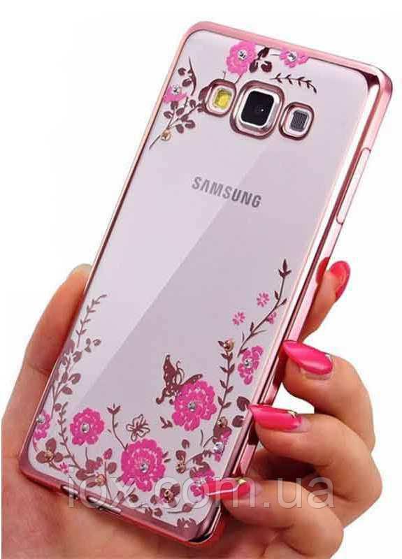 Розовый силиконовый чехол с цветочными узорами и камушками Swarovski для Samsung Galaxy J7 2015