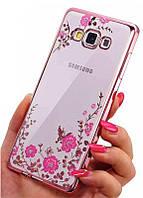 Розовый силиконовый чехол с цветочными узорами и камушками Swarovski для Samsung Galaxy J7 2015, фото 1