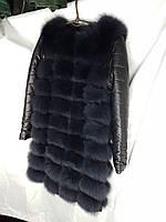 Жилет мех песец 90 см со съемным рукавом