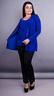 Дона. Жакет+блуза для женщин больших размеров. Электрик. 60