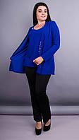 Дона. Жакет+блуза для женщин больших размеров. Электрик. 62