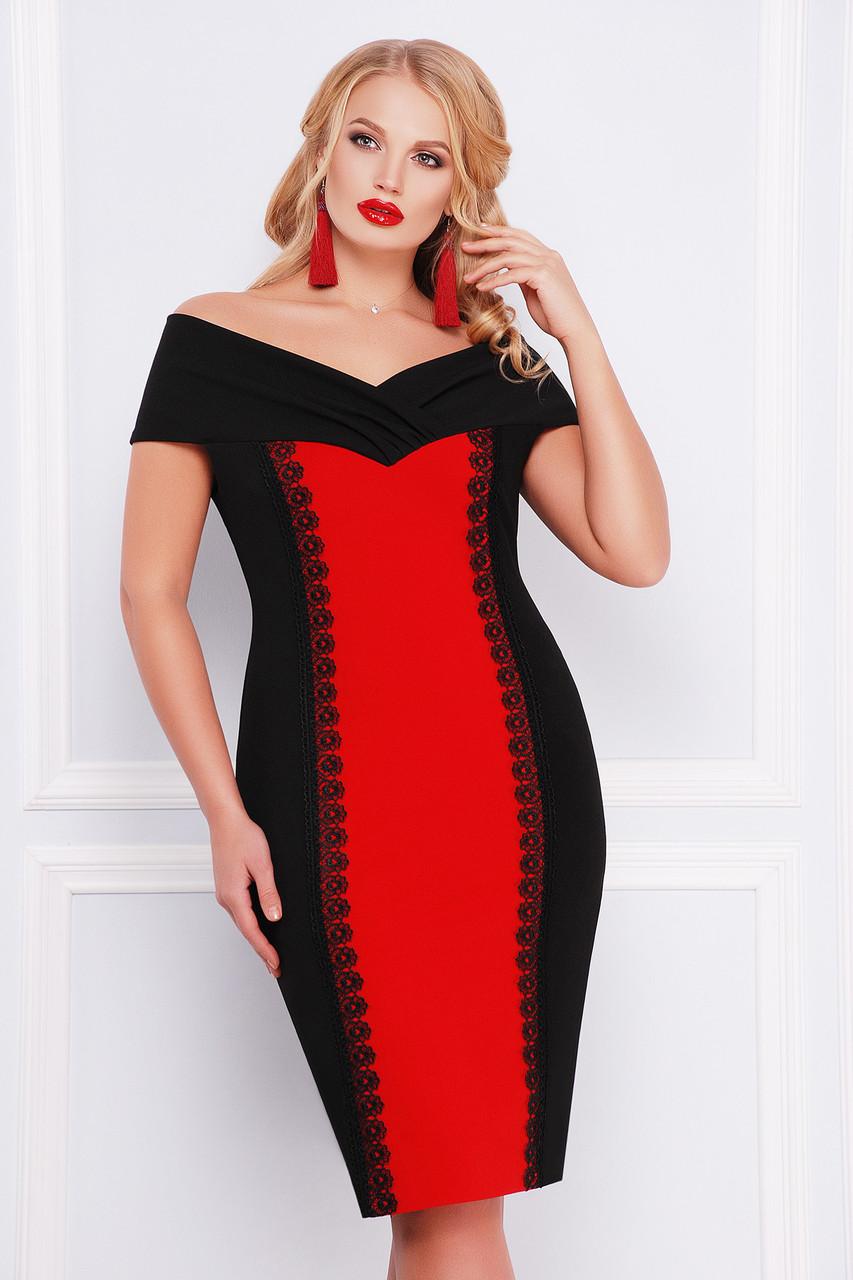 Женское платье цвет  черный /красный Аделина-Б б/р XL, XXL, XXXL