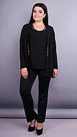 Дона. Жакет+блуза для женщин больших размеров. Черный. 56