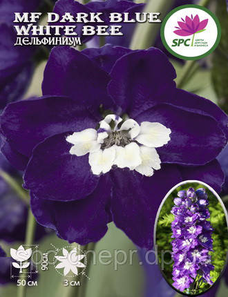 Дельфиниум MF Dark Blue White Bee, фото 2