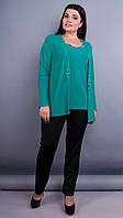 Дона. Жакет+блуза для женщин больших размеров. Изумруд. 52