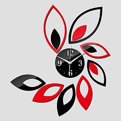 """Часы зеркальные """"зеркальные черно-красные лепестки"""" , часы настенные"""