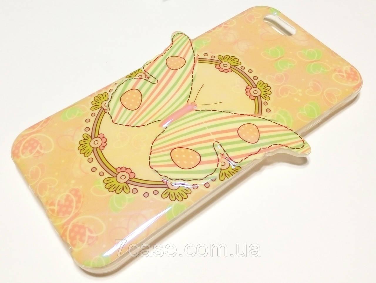 Чехол для iPhone 6 / 6s силиконовый с рисунком бабочка 3d перламутровый кремовый