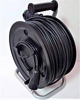 Электрический удлинитель на катушке без з/к с выносной розеткой  80м (ПВС 2*2,5)ТМ ФЕНИКС