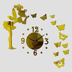 "Часы зеркальные ""фея с бабочками золотые"" , часы наклейки с бабочками"