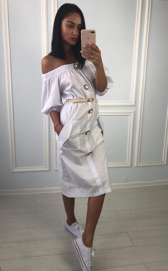 fa9bce6c2e6 Летнее белое платье с открытыми плечами Тк-004  продажа