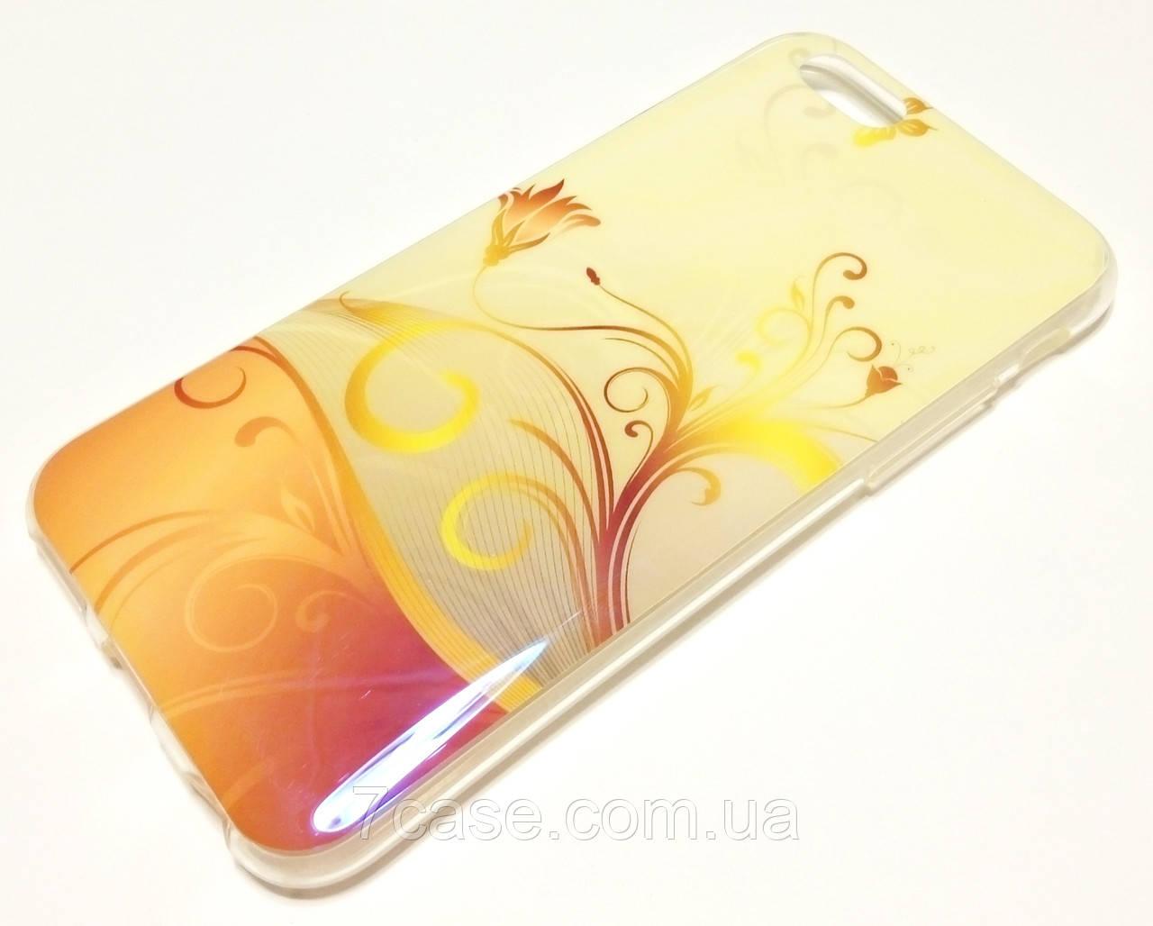 Чехол для iPhone 6 / 6s силиконовый с рисунком цветы перламутровый кремовый