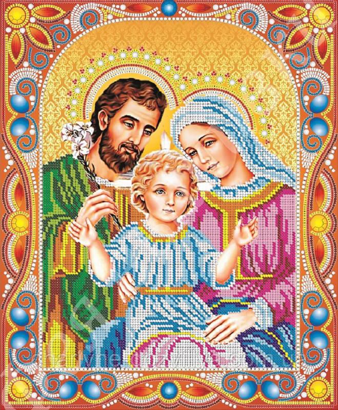 """Схема для вышивки бисером икона """"Святое Семейство"""" (комплектация жемчугом и камнями)"""