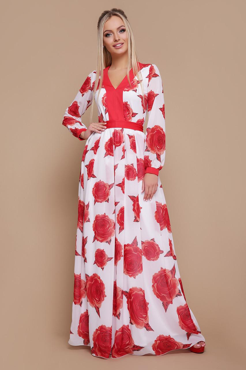 Женское платье Роза красная Каролина д/р