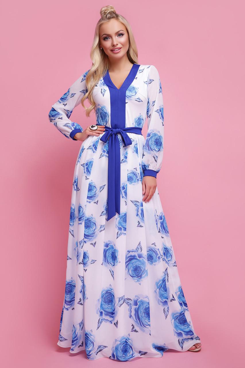 Женское   платье цвет Роза синий Каролина д/р