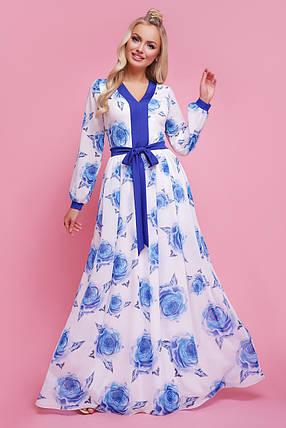 Женское   платье цвет Роза синий Каролина д/р, фото 2
