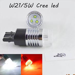 Светодиодная авто лампа SLP LED с цоколем 7443(W21/5W)(T20) 6-Cree XBD led, Белый/Красный, фото 2