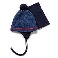 Зимний комплект: шапочка + манишка на мальчиков 3-9 лет (Р. 3/5, 6/8) ТМ Peluche&Tartine F17 ACC 63 EG