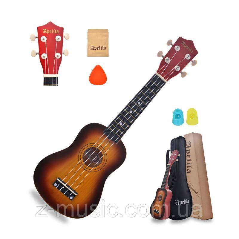 Укулеле Сопрано Apelila San (Чехол+Комплект струн+Медиатор+2 наконечника на пальцы)