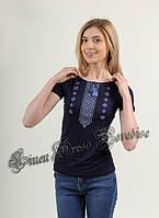 """Жіноча футболка з вишивкою синя на чорному. Модель """"8015"""""""