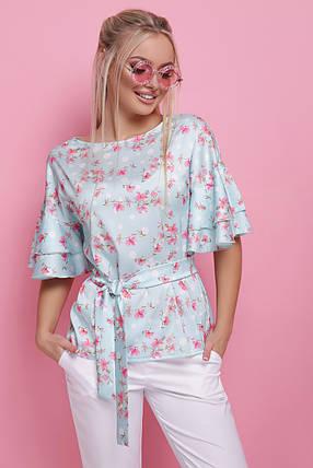 Цветы Женская блуза Мирабель к/р, фото 2