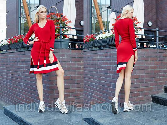 Платье спортивное вязка с цветным низом