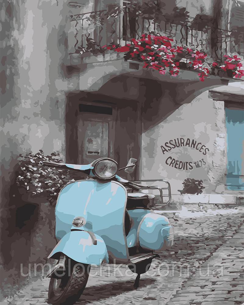 Картина по номерам Винтажный мопед (BRM4219) 40 х 50 см 0