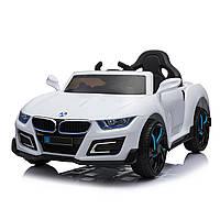Электромобиль спорткар T-7626 WHITE для деток 3-8лет с пультом мотор 2*25W с MP3