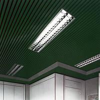 Кубообразный реечный подвесной потолок, рейка 50х50мм, шаг 50мм, цвет зеленый RAL 6005