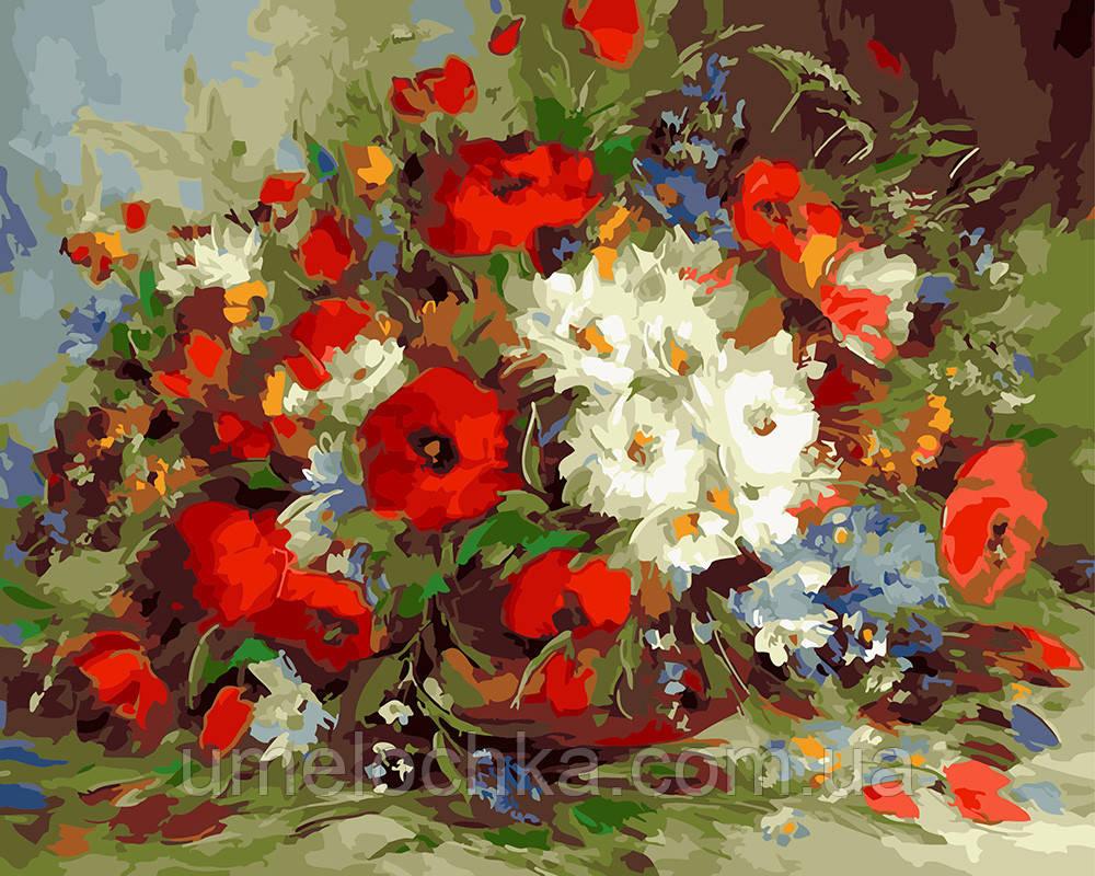 Раскраска для взрослых Букет полевых цветов (BRM5922) 40 х 50 см 0