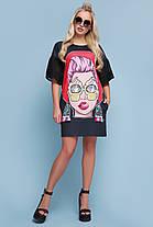 Платье женское прямое с ярким рисунком молодежное рукав шифон с карманами, фото 3