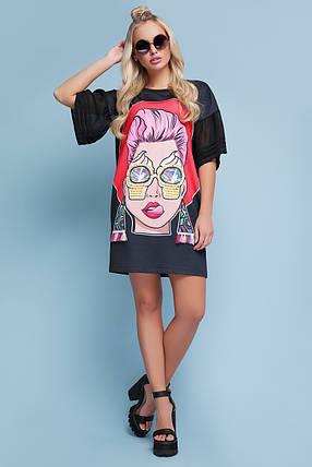 Платье женское прямое с ярким рисунком молодежное рукав шифон с карманами, фото 2