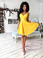 Платье-клёш женское короткое из креп-костюмной ткани с V-образным вырезом P10118, фото 1