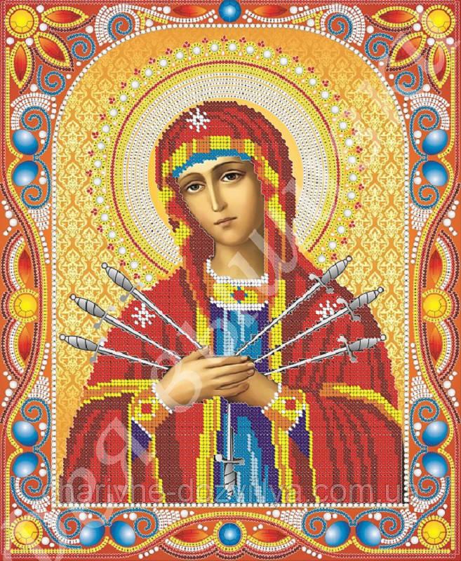 """Схема для вышивки бисером икона """"Богородица Семистрельная"""" (комплектация жемчугом и камнями)"""