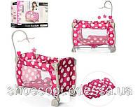 Кровать манеж для кукол (Baby) ICOO с подвеской, одеяло, подушка, фото 1