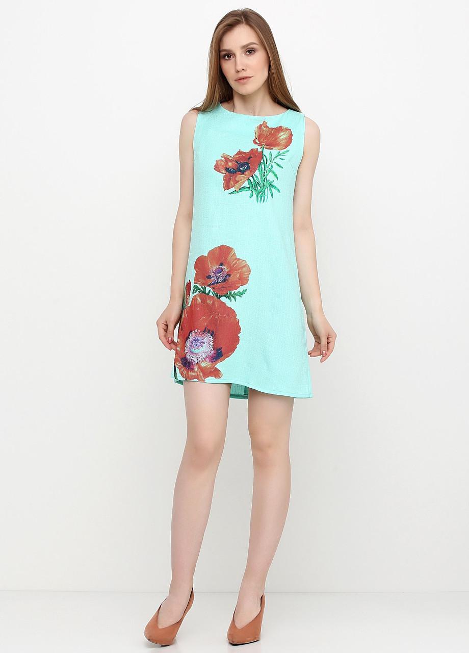 Сукня жіноча з льону літній з квітковим принтом (світло-бірюзовий)