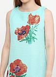 Сукня жіноча з льону літній з квітковим принтом (світло-бірюзовий), фото 3