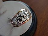Серебряное кольцо с золотой пластинкой , фото 7