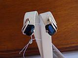 Серебряные серьги с золотой пластиной и сапфиром, фото 3
