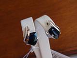 Серебряные серьги с золотой пластиной и сапфиром, фото 5