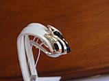 Серебряные серьги с золотой пластиной и сапфиром, фото 6