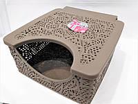Коробка для салфеток коричневая 15*15*6