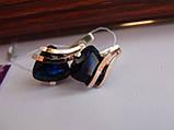 Серебряные серьги с золотой пластиной и сапфиром, фото 4