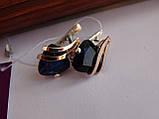 Серебряные серьги с золотой пластиной и сапфиром, фото 7