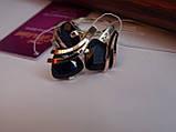 Серебряные серьги с золотой пластиной и сапфиром, фото 9