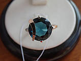 Серебряное кольцо с золотой пластинкой и танзанитом, фото 2