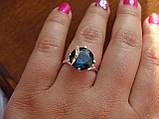 Серебряное кольцо с золотой пластинкой и танзанитом, фото 4